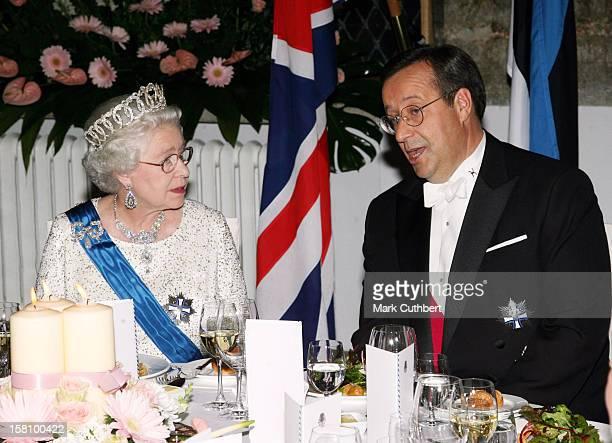 Queen Elizabeth Ii The Duke Of Edinburgh Visit The Baltic StatesState Banquet At The House Of The Brotherhood Of Blackheads In Tallinn Estonia...