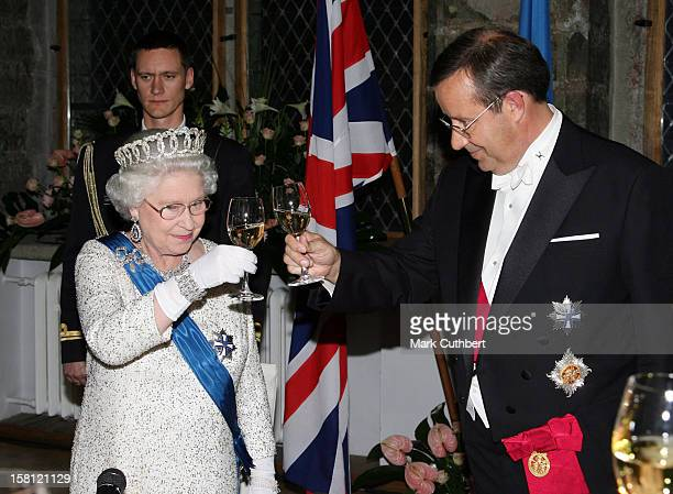Queen Elizabeth Ii The Duke Of Edinburgh Visit The Baltic StatesState Banquet At The House Of The Brotherhood Of Blackheads In Tallinn Estonia...