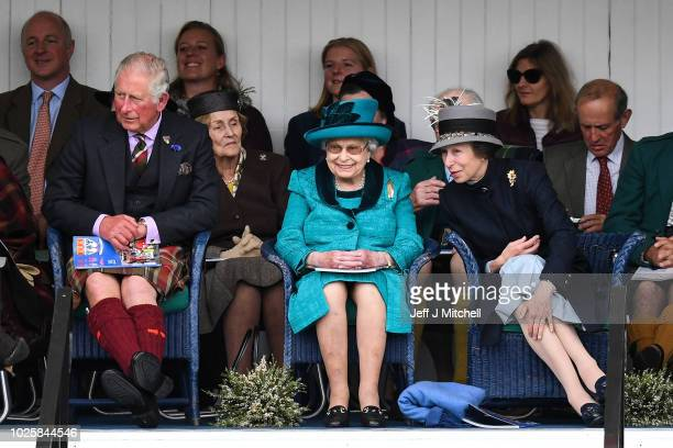 Queen Elizabeth II The Duke of Rothesay and Princess Anne attend the annual Braemar Highland Gathering on September 1 2018 in Braemar Scotland The...