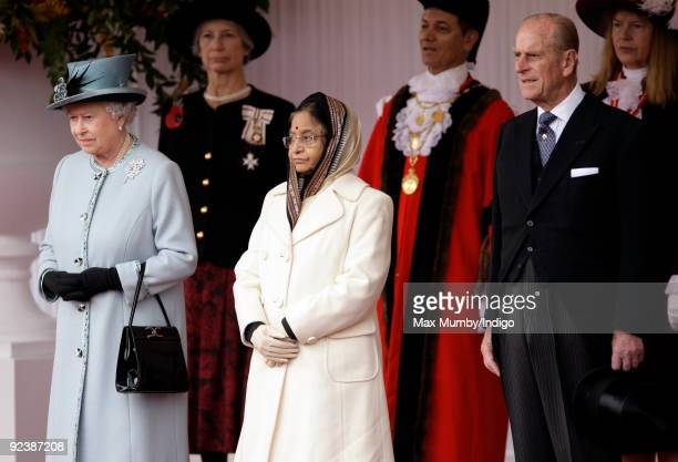 HM Queen Elizabeth II The President of the Republic of India Pratibha Devisingh Patil and HRH Prince Philip The Duke of Edinburgh attend the...