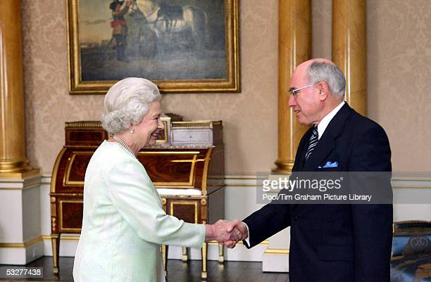 HM Queen Elizabeth II The Queen grants an audience to Australian Prime Minister John Howard at Buckingham Palace on July 22 2005 in London England