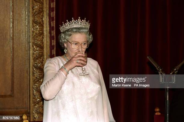 Queen Elizabeth II toasts the people of Hungary at the state banquet at Budapest's Parliament during her state visit