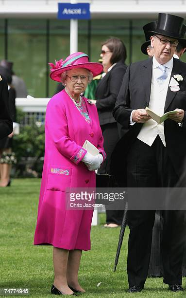 Queen Elizabeth II tours the parade ring on the first day of Royal Ascot 2007 on June 19 2007 in Ascot England