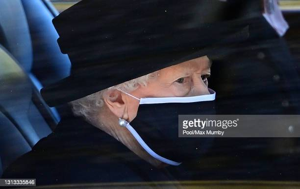 Queen Elizabeth II travels to attend the funeral of Prince Philip, Duke of Edinburgh at St. George's Chapel, Windsor Castle on April 17, 2021 in...