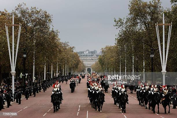 Queen Elizabeth II travels up the Mall enroute to Buckingham Palace after delivering a speech at the state opening of Parliament on November 15, 2006...