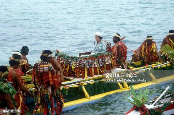 Queen Elizabeth II Tuvalu The Queen is brought ashore in a war canoe 26th October 1982