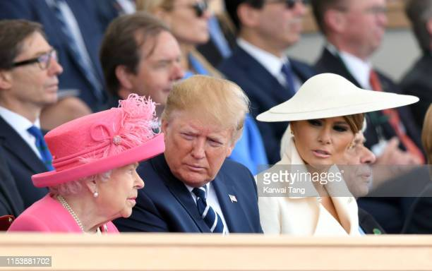 Queen Elizabeth II, US President Donald Trump and US First Lady Melania Trump attend the D-Day75 National Commemorative Event to mark the 75th...