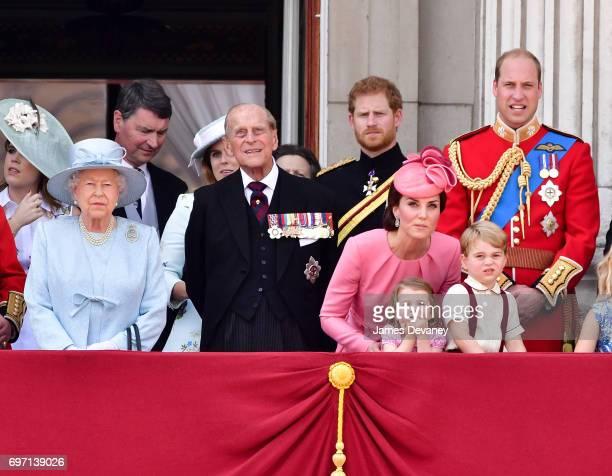 Queen Elizabeth II Vice Admiral Timothy Laurence Prince Philip Duke of Edinburgh Prince Harry Catherine Duchess of Cambridge Prince William Duke of...