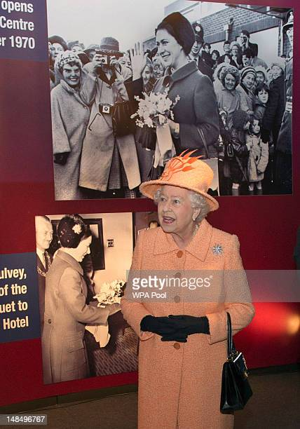 Queen Elizabeth II views a Diamond Jubilee exhibition celebrating 60 years of Her Majesty's reign on July 18 2012 in Sunderland England During a...