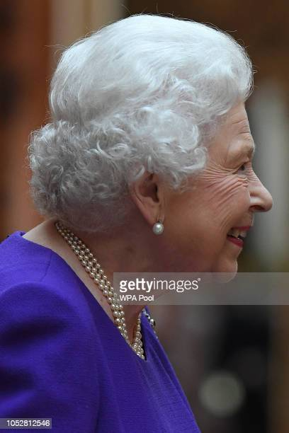 Queen Elizabeth II views Dutch items from the Royal Collection at Buckingham Palace on October 23 2018 in London United Kingdom King WillemAlexander...