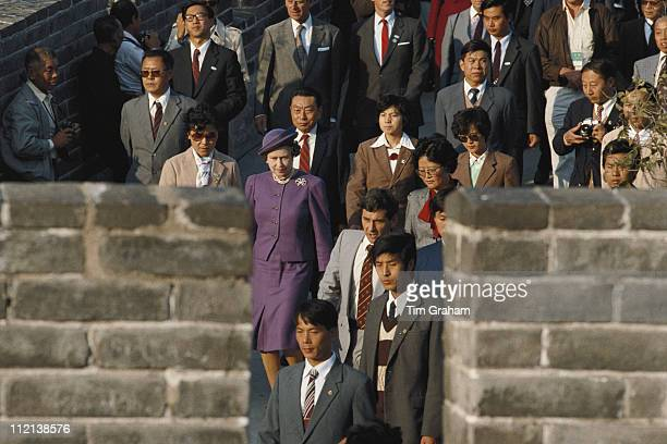 Queen Elizabeth II visiting the Great Wall Of China at Badaling near Beijing during an official state visit to China 14 October 1986
