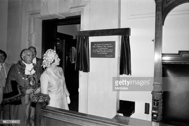 Queen Elizabeth II visiting Walsall during her Silver Jubilee tour West Midlands Unveiling a plaque to commemorate her Silver Jubilee visit to...