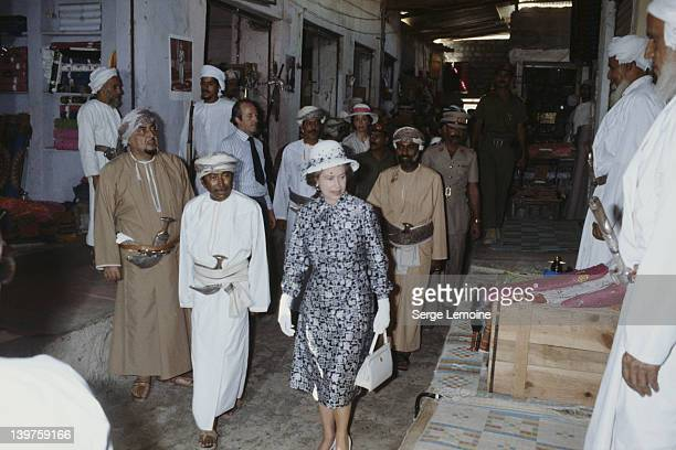 Queen Elizabeth II visits a souk in Muscat during her state visit to Oman 28th February 1979