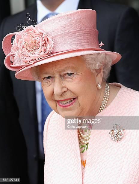 Queen Elizabeth II visits Alder Hey Children's Hospital during a visit to Liverpool on June 22 2016 in Liverpool England
