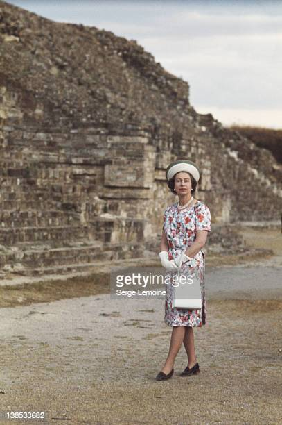 Queen Elizabeth II visits an ancient pyramid during her state visit to Mexico 1975