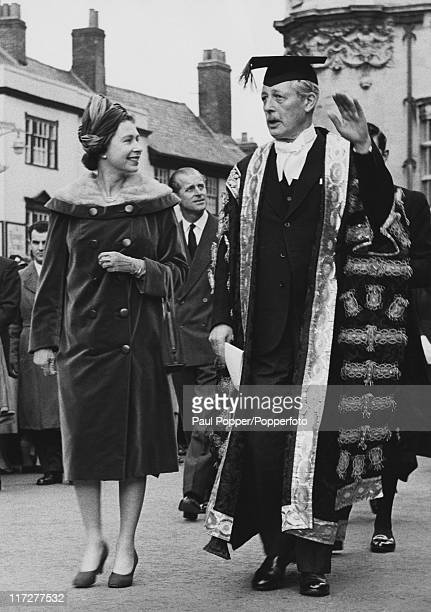 Queen Elizabeth II visits British Prime Minister Harold Macmillan , Chancellor of Oxford University, in Oxford, 4th November 1960. They are on their...