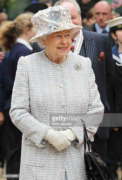 Queen Elizabeth II visits Bromley town centre as part of her Diamond Jubilee tour of the country on May 15 2012 in Bromley England