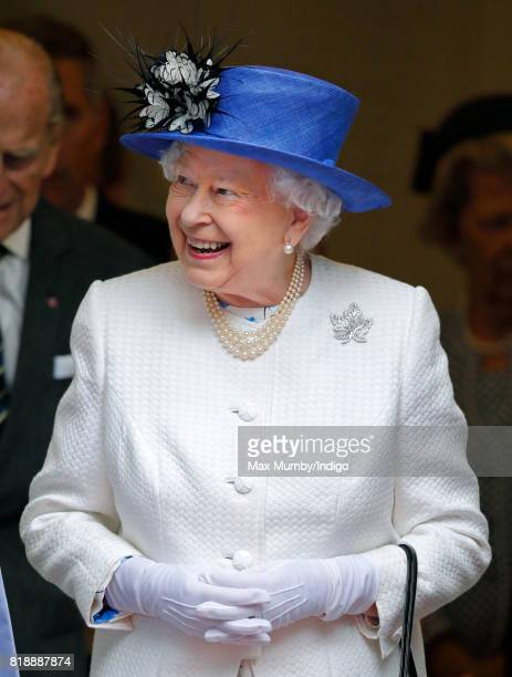 Queen Elizabeth II visits Canada House to celebrate Canada's 150th anniversary of Confederation on July 19 2017 in London England
