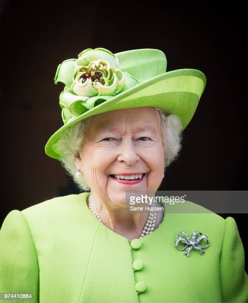 Queen Elizabeth II visits Chester Town Hall on June 14, 2018 in Chester, England.