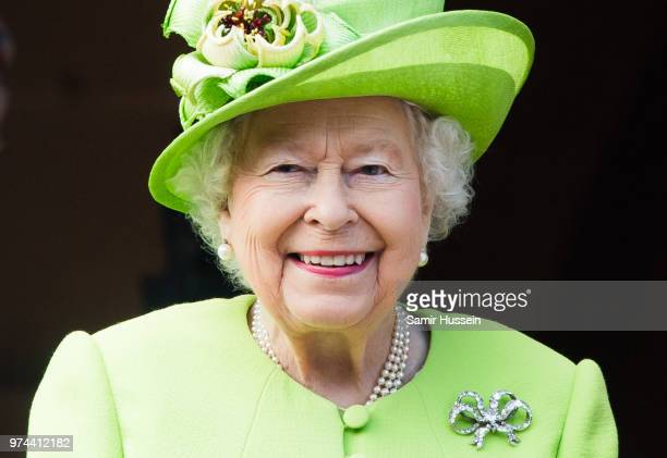 Queen Elizabeth II visits Chester Town Hall on June 14 2018 in Chester England