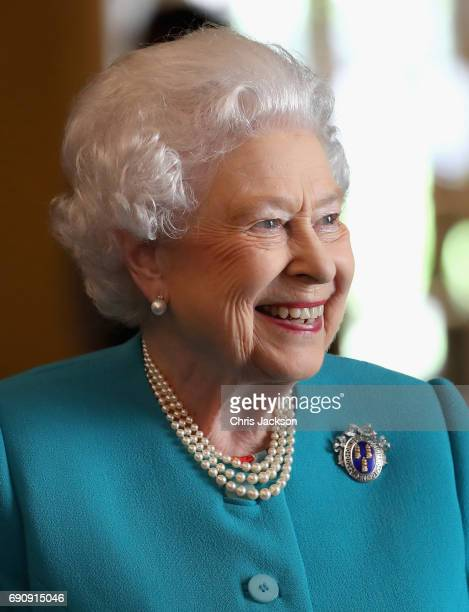Queen Elizabeth II visits Drapers' Hall for a luncheon on the occasion of the 70th Anniversary of Her Majesty's Admission to the Freedom of the...