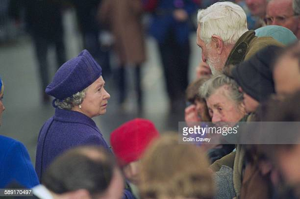 Queen Elizabeth II visits Dunblane in Scotland to show her support after the massacre at Dunblane Primary School in which 17 people were killed 17th...