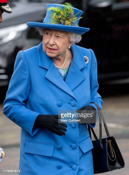 Queen Elizabeth II visits Haig Housing Trust to officially open their new housing development in Morden on October 11 2019 in London England