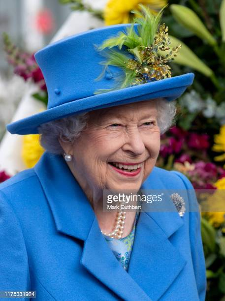 Queen Elizabeth II visits Haig Housing Trust to officially open their new housing development in Morden on October 11, 2019 in London, England.