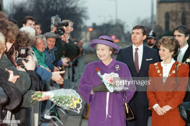Queen Elizabeth II visits Huddersfield to open a rugby club 30th November 1990