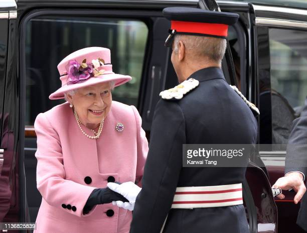 Queen Elizabeth II visits King's College London accompanied by Catherine Duchess of Cambridge to officially open Bush House the latest education and...