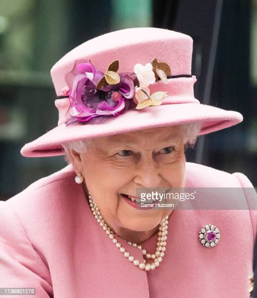 Queen Elizabeth II visits King's College London on March 19 2019 in London England to officially open Bush House the latest education and learning...