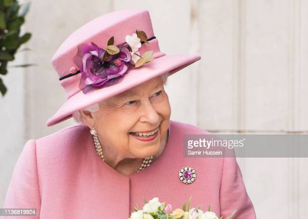 Queen Elizabeth II visits King's College London on March 19, 2019 in London, England to officially open Bush House, the latest education and learning...