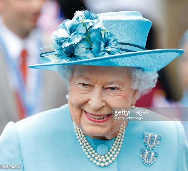 Queen Elizabeth II visits Mayflower Primary School during a day of engagements in Tower Hamlets commemorating the centenary of the bombing of Upper...