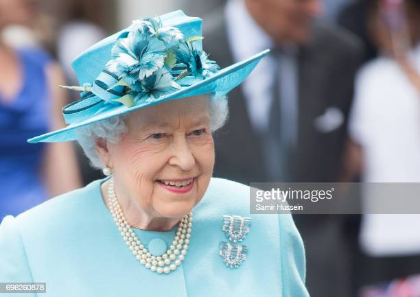 Queen Elizabeth II visits Mayflower Primary School during an official visit to Tower Hamlets on June 15 2017 in London England The visit coincides...