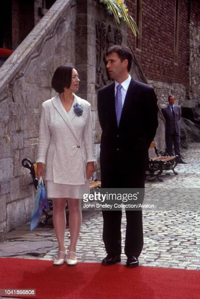 Queen Elizabeth II visits Norway, Prime Minister of Norway Jens Stoltenberg and his wife Ingrid Schulerud, Akershus Castle, 31st May 2001.