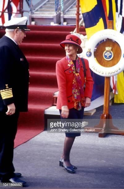 Queen Elizabeth II visits Norway Queen Sonja HMS Illustrious 31st May 2001