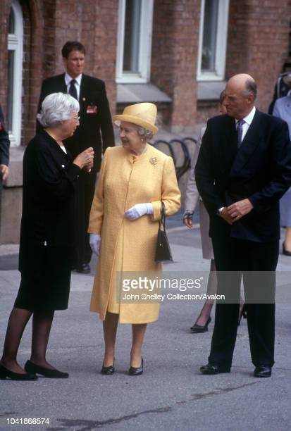 Queen Elizabeth II visits Norway Visiting Boltelokka School in Oslo with King Harald V 31st May 2001