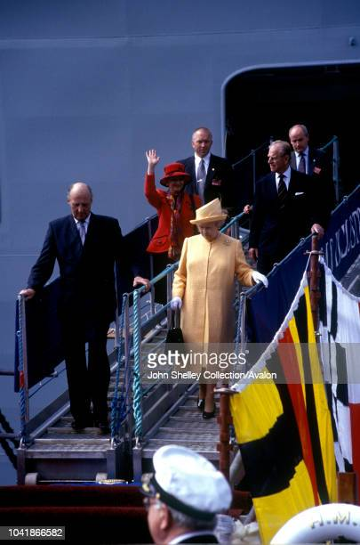 Queen Elizabeth II visits Norway Visiting HMS Illustrious with King Harald V Queen Sonja and the Duke of Edinburgh 31st May 2001