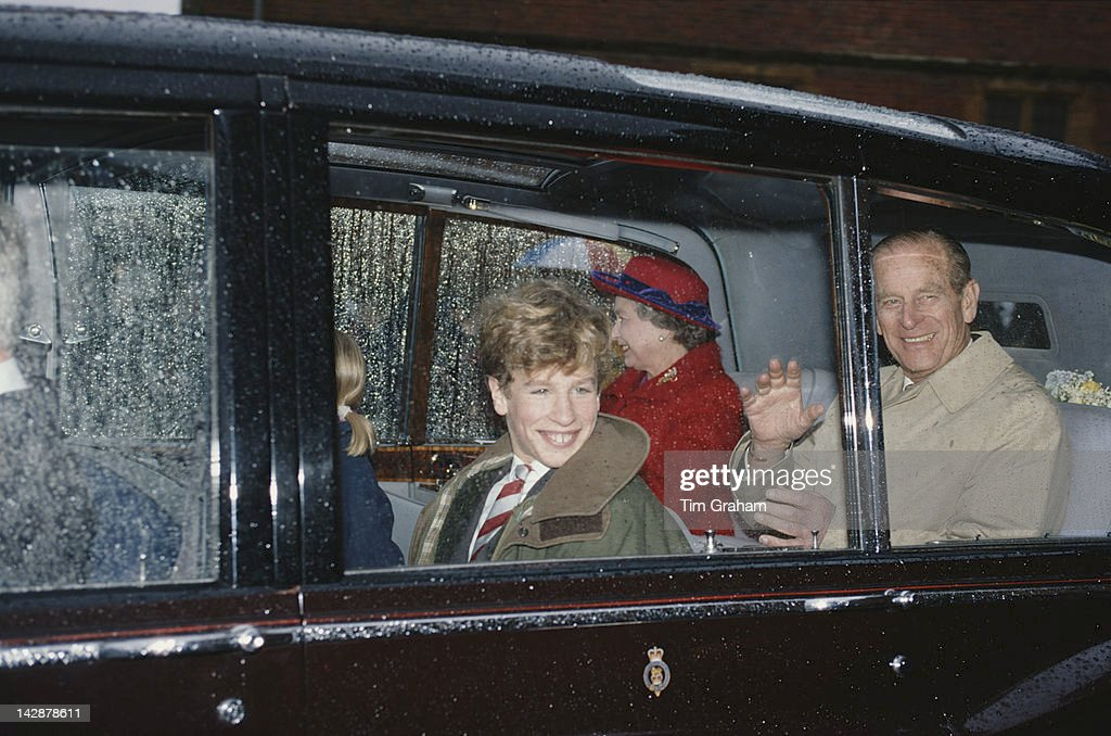 Queen Elizabeth II visits Port Regis School in Shaftesbury, Dorset, with her husband Prince Philip and their grandson Peter Phillips, 23rd February 1991. Peter is a pupil at the school.