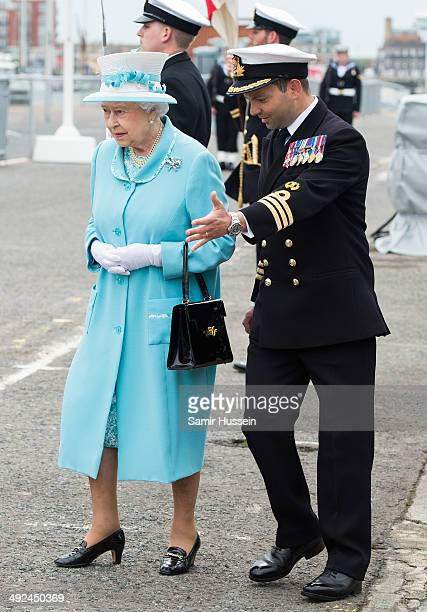 Queen Elizabeth II visits Portsmouth Naval Base to view HMS Lancaster on May 20 2014 in Portsmouth England