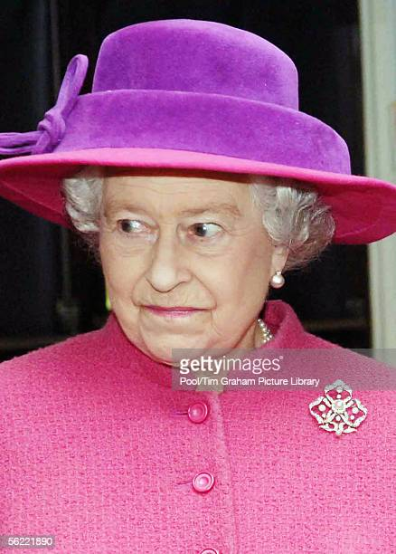 Queen Elizabeth II visits RAF Coltishall to meet air crews and their families on November 17, 2005 in Norfolk, England.