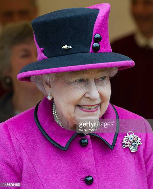Queen Elizabeth II visits Sherborne Abbey on May 1 2012 in Sherborne England The Queen and Duke of Edinburgh are visiting the South West of England...