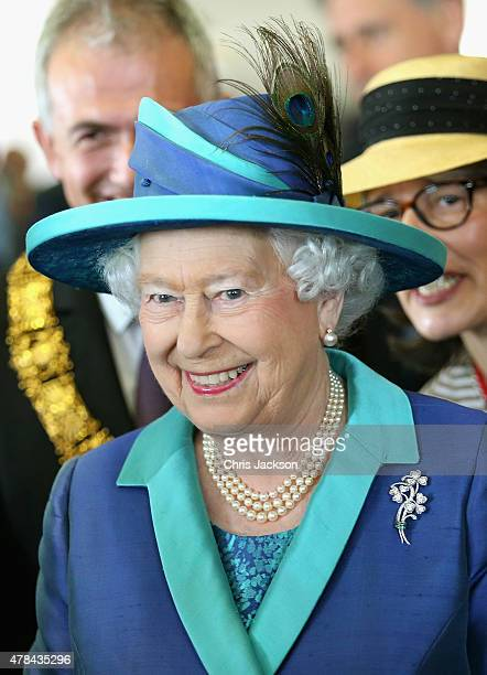 Queen Elizabeth II visits St Paul's Church on day three of a four day State Visit to Germany on June 25 2015 in Frankfurt am Main Germany
