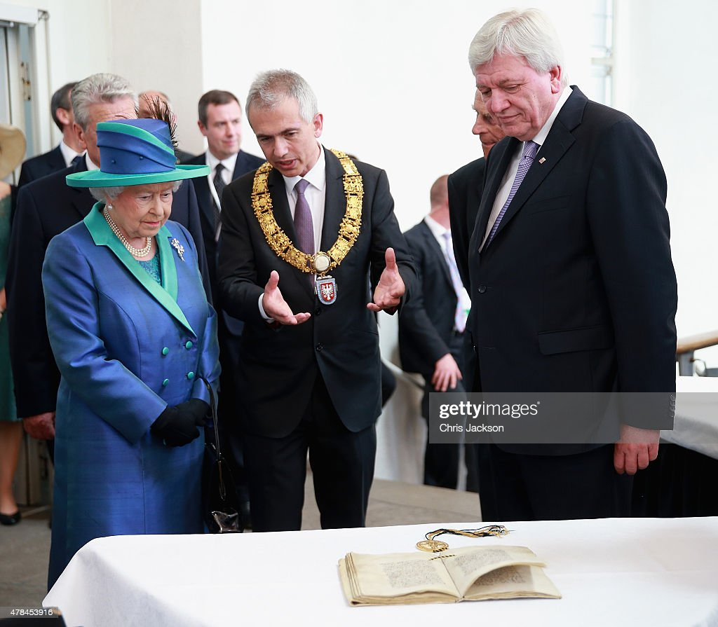 Queen Elizabeth II visits St Paul's Church on day three of a four day State Visit to Germany on June 25, 2015 in Frankfurt am Main, Germany. The Queen and Prince Philip have travelled to Frankfurt following a visit to Berlin. The Royal couple will also visit the concentration camp memorial at Bergen-Belsen during their trip, which is their first to Germany since 2004.