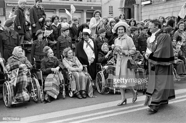 Queen Elizabeth II visits Stockton Town Centre during her Silver Jubilee tour 14th July 1977