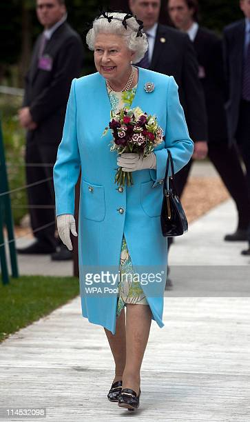 Queen Elizabeth II visits the Chelsea Flower Show Press and VIP Day on May 23 2011 in London England