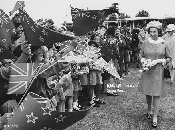 Queen Elizabeth II visits the Childers Road Reserve in Gisborne during her tour of New Zealand 22nd March 1970 She is there in connection with the...
