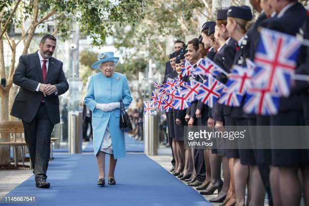 Queen Elizabeth II visits the headquarters of British Airways in Heathrow, as they mark their centenary year, on May 23, 2019 in London, England.