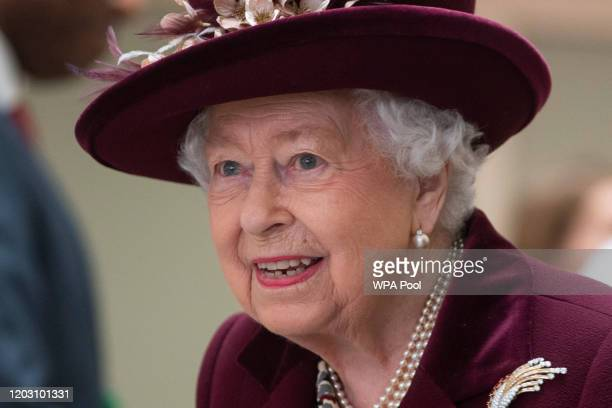 Queen Elizabeth II visits the headquarters of MI5 at Thames House on February 25 2020 in London England MI5 is the United Kingdom's domestic...