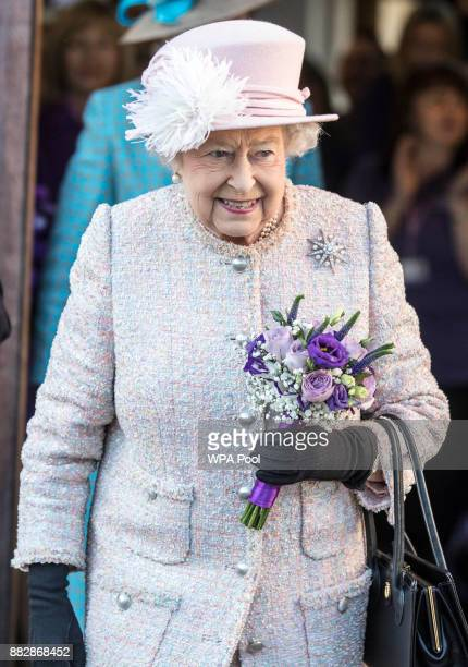 Queen Elizabeth II visits the headquarters of the charity Canine Partnerson November 30 2017 in Midhurst England